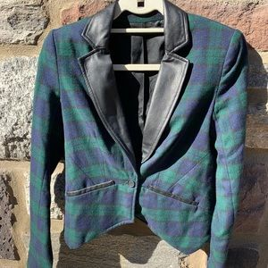 Cut 25 plaid blazer with leather trim